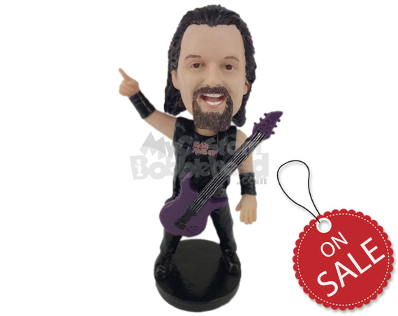 Custom Bobblehead Hard Rocker In Sleeveless Tank Top Giving It All For The Fans - Musicians & Arts Strings Instruments Personalized Bobblehead & Cake Topper