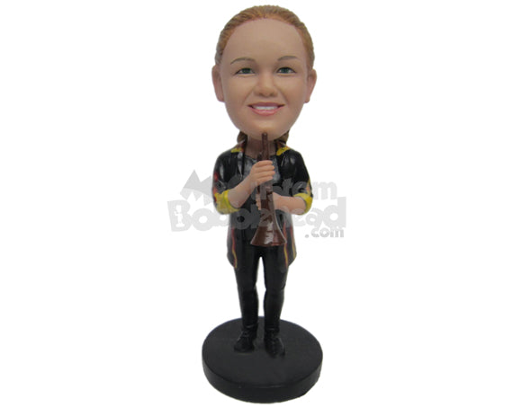 Custom Bobblehead Female Trumpet Player With Fancy Rolled-Up Sleeved Jacket - Musicians & Arts Wind Instruments Personalized Bobblehead & Cake Topper