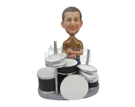 Custom Bobblehead Cool Dude Drummer In Casual Wear Beating His Drum - Musicians & Arts Percussion Instruments Personalized Bobblehead & Cake Topper