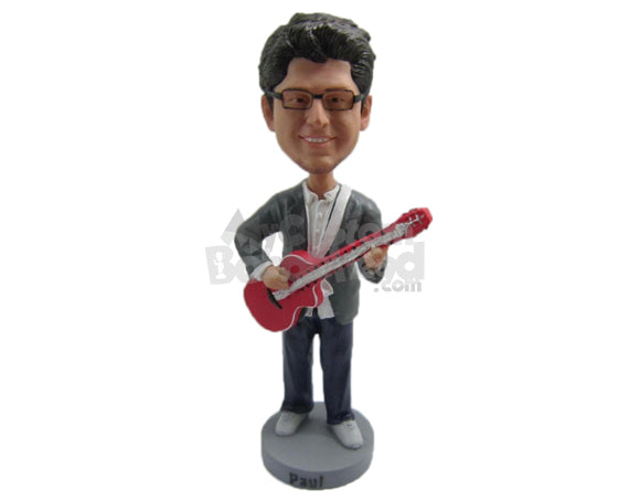 Custom Bobblehead Boy Playing Guitar Wearing A Suit - Musicians & Arts Strings Instruments Personalized Bobblehead & Cake Topper