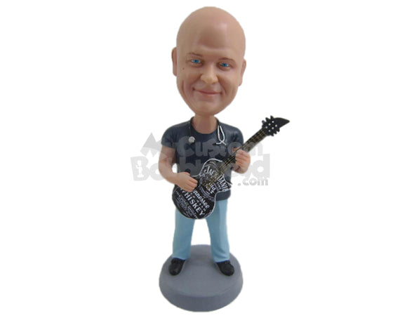 Custom Bobblehead Cool Doctor Playing Guitar - Musicians & Arts Strings Instruments Personalized Bobblehead & Cake Topper