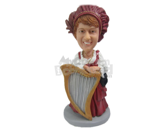 Custom Bobblehead Female Harpist Playing Harp Wearing A Vintage Outfit - Musicians & Arts Strings Instruments Personalized Bobblehead & Cake Topper
