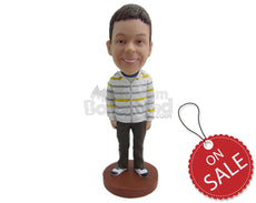 Custom Bobblehead School Boy Wearing Jacket And Jeans - Parents & Kids Babies & Kids Personalized Bobblehead & Cake Topper