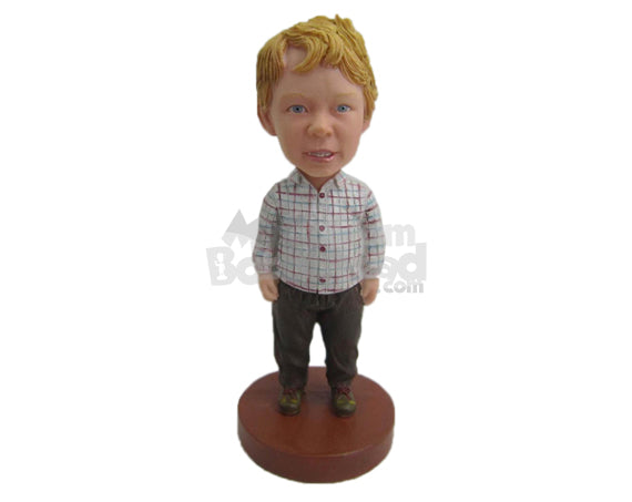 Custom Bobblehead Boy Wearing Shirt And Jeans With Boots - Parents & Kids Babies & Kids Personalized Bobblehead & Cake Topper