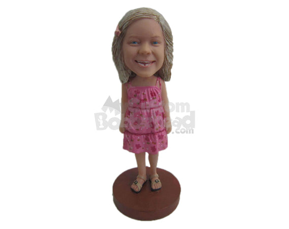 Custom Bobblehead Adorable Baby Girl Wearing A Dress And Slippers - Parents & Kids Babies & Kids Personalized Bobblehead & Cake Topper