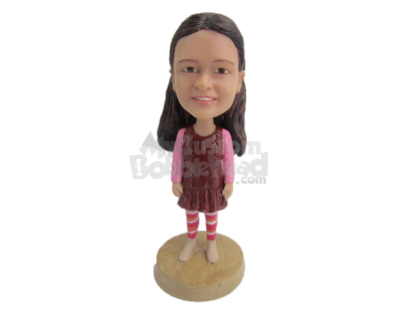 Custom Bobblehead Baby Girl In Winter Dress With Long Socks And Boots - Parents & Kids Babies & Kids Personalized Bobblehead & Cake Topper