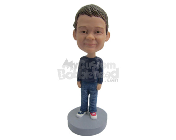 Custom Bobblehead Stylish Boy Wearing T-Shirt And Jeans - Parents & Kids Babies & Kids Personalized Bobblehead & Cake Topper