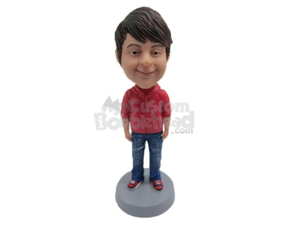 Custom Bobblehead Boy Wearing A Trendy Jacket, Jeans And Sneakers - Parents & Kids Babies & Kids Personalized Bobblehead & Cake Topper