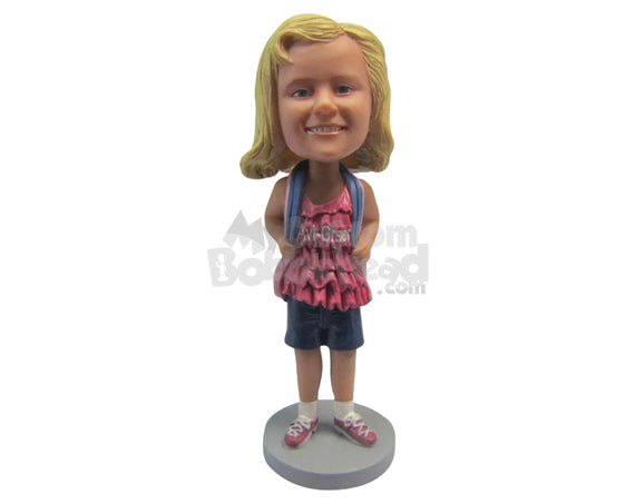 Custom Bobblehead Baby School Girl In Casual Outfit Ready For School - Parents & Kids Babies & Kids Personalized Bobblehead & Cake Topper