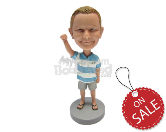Custom Bobblehead Small Boy In T-Shirt And Jeans Waving Hello - Parents & Kids Babies & Kids Personalized Bobblehead & Cake Topper