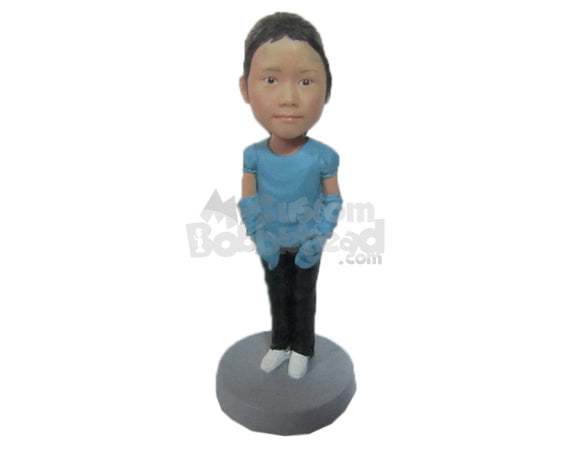 Custom Bobblehead Baby Girl In Top And Jeans Wearing Hand Socks - Parents & Kids Babies & Kids Personalized Bobblehead & Cake Topper
