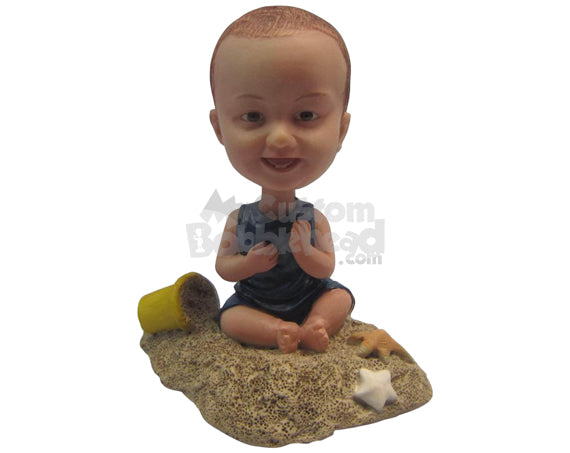 Custom Bobblehead Baby Boy Playing In The Sand - Parents & Kids Babies & Kids Personalized Bobblehead & Cake Topper