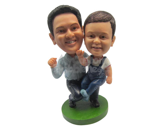 Custom Bobblehead Father And Son Having A Great Time Outdoors - Parents & Kids Dad & Kids Personalized Bobblehead & Cake Topper