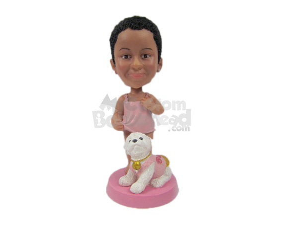 Custom Bobblehead Baby Girl Wearing A Trendy Top With Her Dog - Parents & Kids Babies & Kids Personalized Bobblehead & Cake Topper