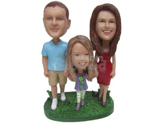 Custom Bobblehead Mother, Daughter And Dad Trio Walking Hand In Hand - Parents & Kids Mom, Dad & Kids Personalized Bobblehead & Cake Topper