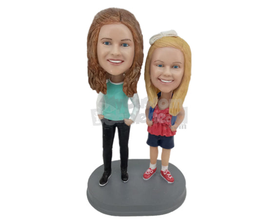 Custom Bobblehead Gorgeous School Girl Wearing Tank Top With Her Stylish Mother - Parents & Kids Mom And Kids Personalized Bobblehead & Cake Topper