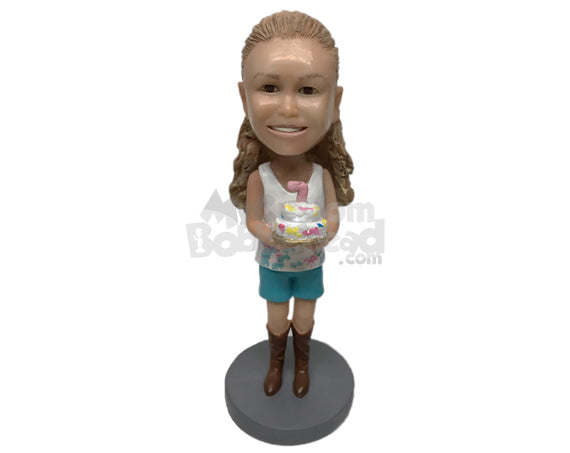 Custom Bobblehead Gorgeous Girl With Birthday Cake - Parents & Kids Babies & Kids Personalized Bobblehead & Cake Topper