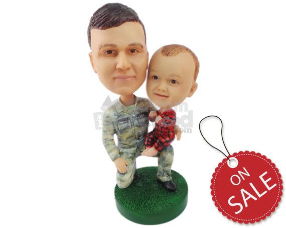 Custom Bobblehead Military Father And Son Having A Great Time Outdoors - Parents & Kids Dad & Kids Personalized Bobblehead & Cake Topper