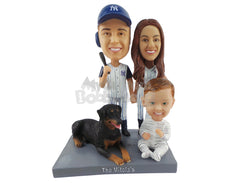 Custom Bobblehead Beautiful Family Of Three Baseball Fans With A Large Dog - Parents & Kids Mom, Dad & Kids Personalized Bobblehead & Cake Topper