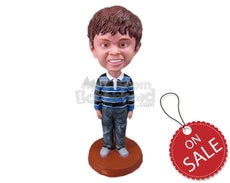 Custom Bobblehead Playful Boy In Long-Sleeved T-Shirt And Jeans - Parents & Kids Babies & Kids Personalized Bobblehead & Cake Topper