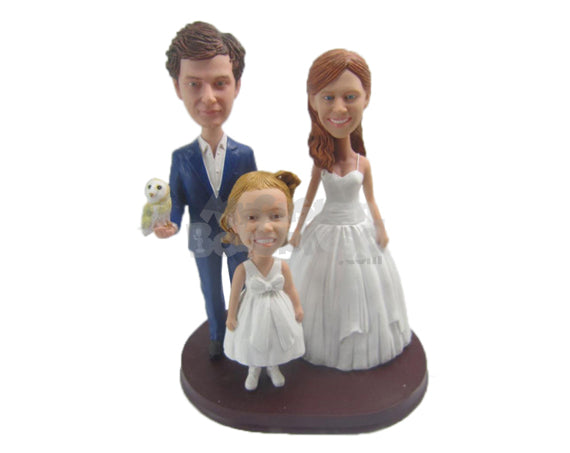 Custom Bobblehead Dad, Mom And Daughter Ready For A Ceremony - Parents & Kids Mom, Dad & Kids Personalized Bobblehead & Cake Topper