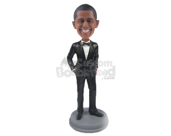Custom Bobblehead Barack Obama In Formal Outfit - Politics & Celebrities Presidents Personalized Bobblehead & Cake Topper