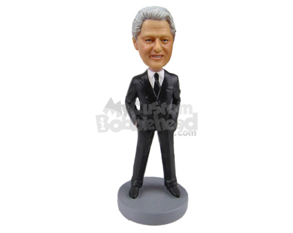 Custom Bobblehead Bill Clinton In Stylish Suit - Politics & Celebrities Presidents Personalized Bobblehead & Cake Topper
