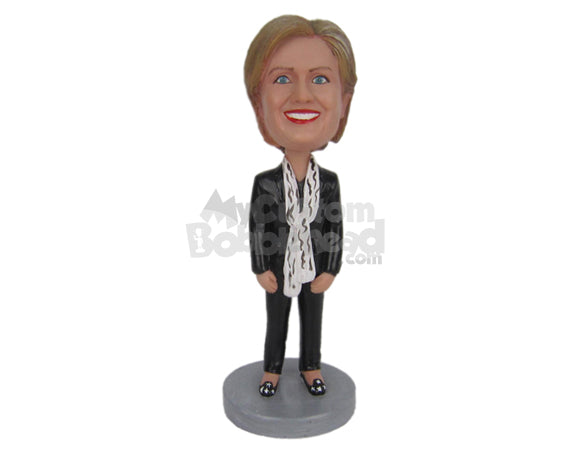 Custom Bobblehead Hilary Clinton In Gorgeous Outfit With A Scarf Around Her Neck - Politics & Celebrities Personalities Personalized Bobblehead & Cake Topper