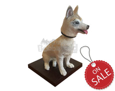 Custom Bobblehead Pet Dog Sitting With A Belt Around Its Neck - Pets & Animals Dogs Personalized Bobblehead & Cake Topper
