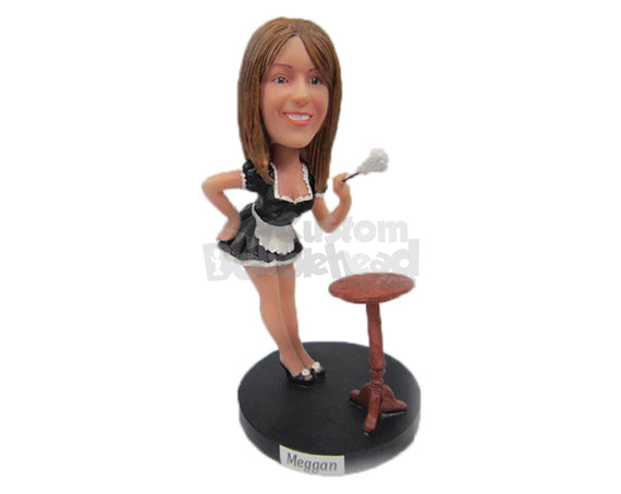 Custom Bobblehead French Maid Cleaning The House - Sexy & Funny Sexy & Naughty Personalized Bobblehead & Cake Topper