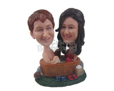 Custom Bobblehead Lovely Couple In Bath Tub - Sexy & Funny Sexy & Naughty Personalized Bobblehead & Cake Topper