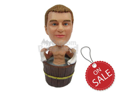 Custom Bobblehead Sexy Man Relaxing In Hoy Jacuzzi - Sexy & Funny Sexy & Naughty Personalized Bobblehead & Cake Topper