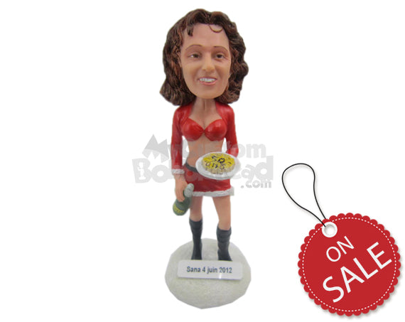 Custom Bobblehead Sexy Waitress Wearing Short Blouse And Skirt - Sexy & Funny Sexy & Naughty Personalized Bobblehead & Cake Topper
