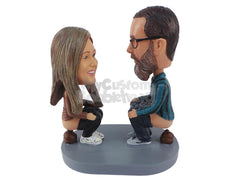 Custom Bobblehead Couple Pooping Together While At Each Other - Sexy & Funny Funny Personalized Bobblehead & Cake Topper