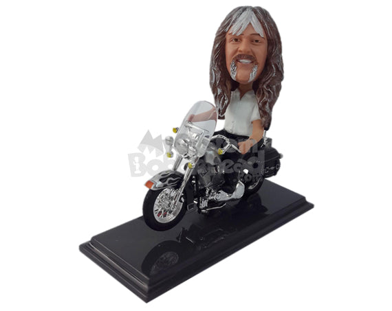 Custom Bobblehead Cool Fella Riding A Stylish Motorbike - Motor Vehicles Motorcycles Personalized Bobblehead & Cake Topper