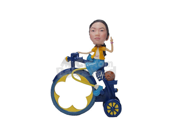 Custom Bobblehead Girl Wearing Jacket And Shorts Giving A Pose Sitting On A Vintage Bicycle - Motor Vehicles Motorcycles Personalized Bobblehead & Cake Topper