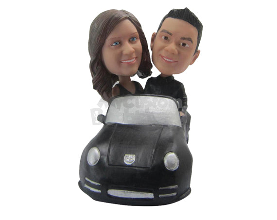 Custom Bobblehead Cute Couple Driving In A Convertible Car - Motor Vehicles Cars, Trucks & Vans Personalized Bobblehead & Cake Topper