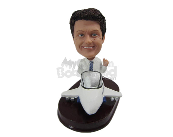 Custom Bobblehead Dude In Formal Attire In A Plane Giving Thumbs Up - Motor Vehicles Planes Personalized Bobblehead & Cake Topper