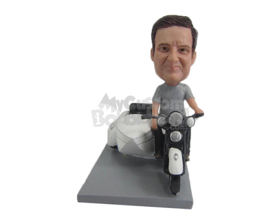 Custom Bobblehead Dude In T-Shirt Driving A Sidecar Motorcycle - Motor Vehicles Cars, Trucks & Vans Personalized Bobblehead & Cake Topper