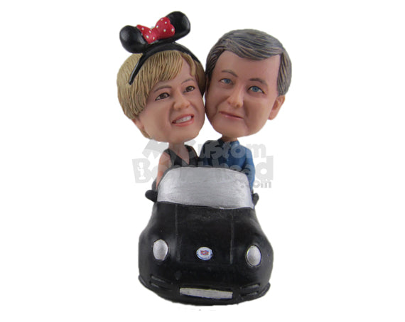 Custom Bobblehead Lovely Couple In A Fancy Convertible Car - Motor Vehicles Motorcycles Personalized Bobblehead & Cake Topper