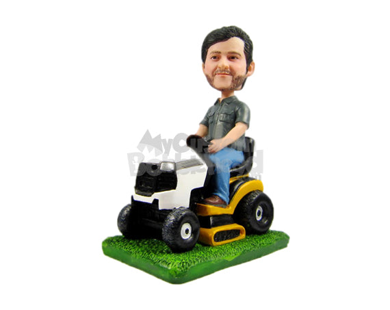 Custom Bobblehead Cool Fella Sitting On Lawn Mower - Motor Vehicles Lawn Mowers Personalized Bobblehead & Cake Topper