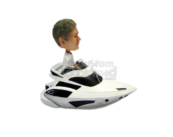 Custom Bobblehead Cool Dude In Fast Boat - Motor Vehicles Boats Personalized Bobblehead & Cake Topper