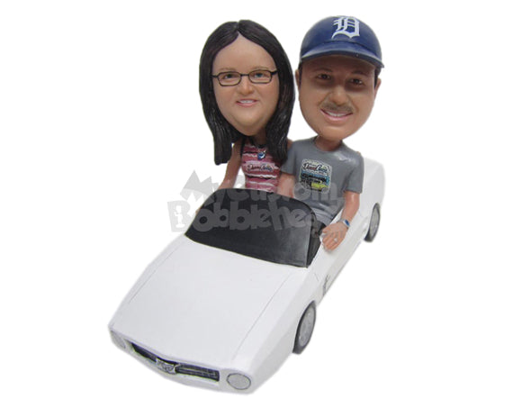 Custom Bobblehead Couple Wearing T-Shirts On A Long Drive In A Car - Motor Vehicles Cars, Trucks & Vans Personalized Bobblehead & Cake Topper