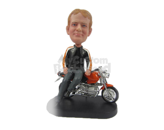 Custom Bobblehead Dude Wearing A Stylish Jacket Sitting On His Motorcycle - Motor Vehicles Motorcycles Personalized Bobblehead & Cake Topper