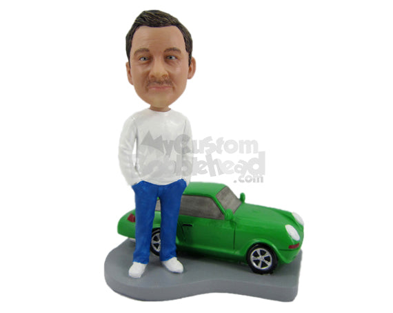 Custom Bobblehead Cool Dude In Casual Attire With A Car - Motor Vehicles Cars, Trucks & Vans Personalized Bobblehead & Cake Topper