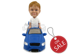 Custom Bobblehead Small Kid In Fancy Car - Motor Vehicles Cars, Trucks & Vans Personalized Bobblehead & Cake Topper