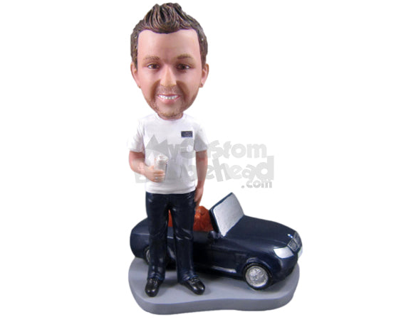 Custom Bobblehead Stylish Guy With His Convertible Car - Motor Vehicles Cars, Trucks & Vans Personalized Bobblehead & Cake Topper