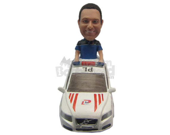 Custom Bobblehead Cool Pal In A Police Car - Motor Vehicles Cars, Trucks & Vans Personalized Bobblehead & Cake Topper
