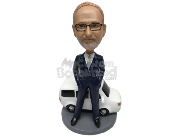 Custom Bobblehead Dude In Formal Attire With A Cool And Expensive Car - Motor Vehicles Cars, Trucks & Vans Personalized Bobblehead & Cake Topper