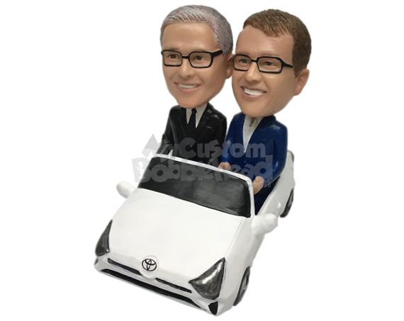 Custom Bobblehead Corporate Executives Out For A Ride On A Toyota Prius - Motor Vehicles Cars, Trucks & Vans Personalized Bobblehead & Cake Topper